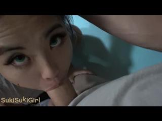 Молоденькая китаянка делает глубокий минет с заглотом азиатка 18 year old asian girl with green eyes throatfucked pov