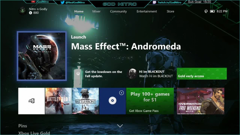 Nitro playing Mass Effect: Andromeda LIVE