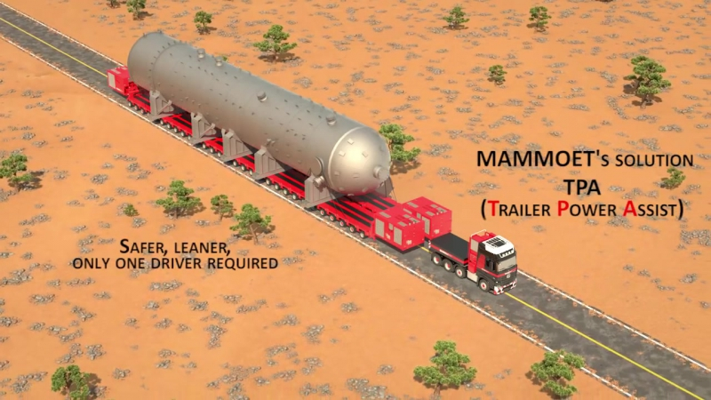 Mammoet animation of Trailer Power Assist (TPA)