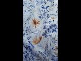 Плотный хлопок сатин. Рисунок синее разнотравье.