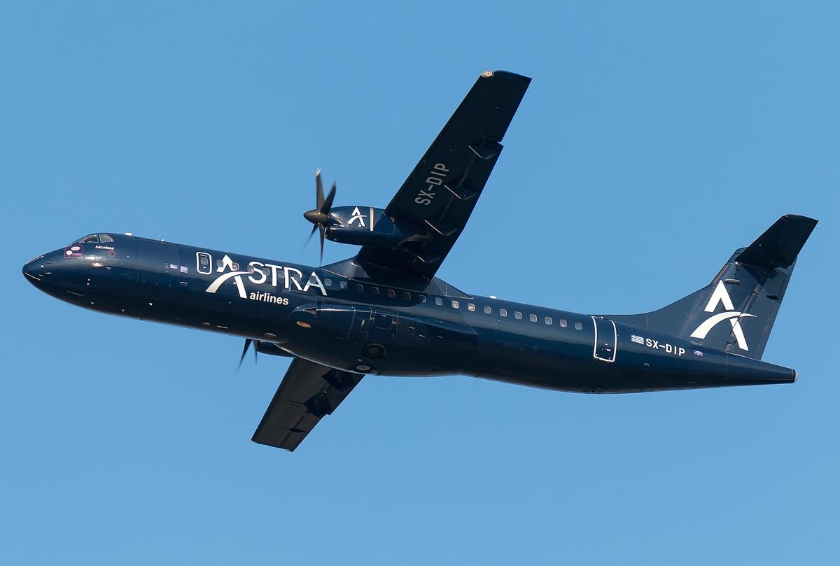 ATR греческой региональной авиакомпании в полете