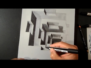 Art Drawing a 3D Hole, Trompe-loeil