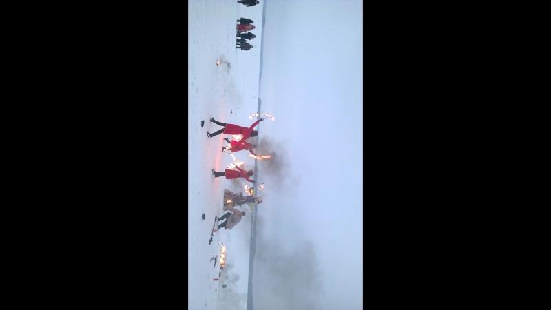 огненное шоу на масленицу на Кенозере