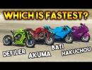 Onespot Gaming GTA 5 ONLINE AKUMA VS HAKUCHOU VS BATI 801 VS DEFILER WHICH IS FASTEST BIKE