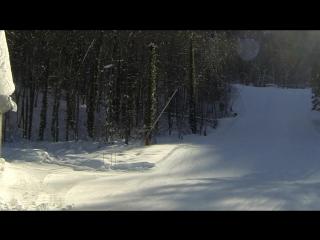 Нижняя часть трассы F6 на Газпром Лаура 2 февраля заледеневшая после снеговых пушек