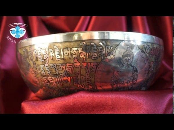 Тибетская поющая чаша Пять Дхьяни Будд 28.5 см. 97 Гц. нота Соль и 296 Гц. нота Ре.