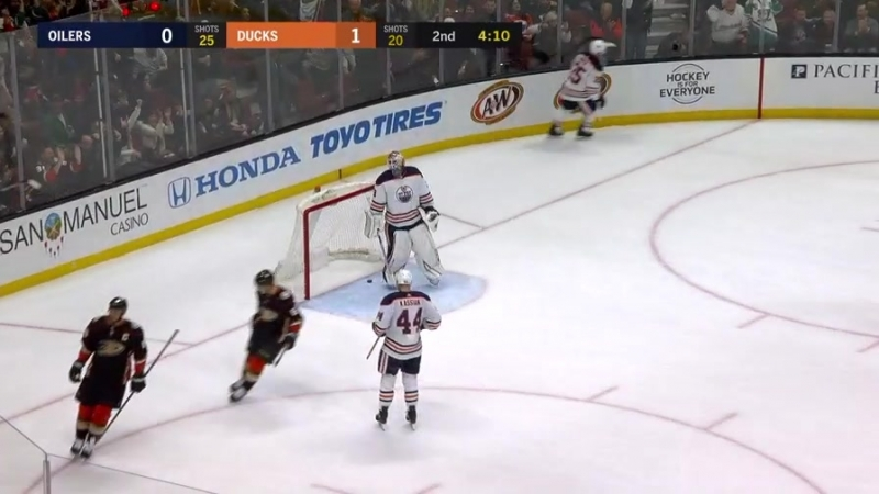 Ryan Getzlaf steals the puck and dishes it ahead to Corey Perry, who slides a wrist shot through Cam Talbot's legs, putting the