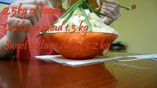 Cabbage salad + sweet cottage cheese (2.5kg of food)