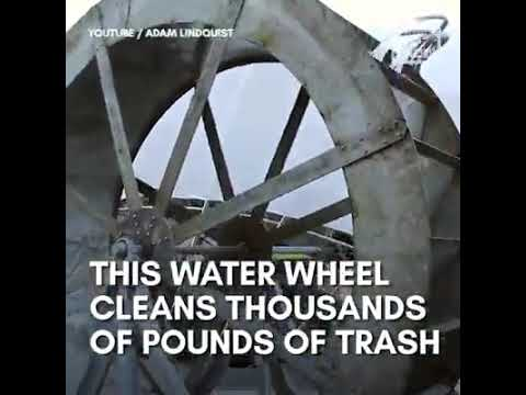 In The Know Innovation This solar-powered water wheel collects up to 40,000 pounds of trash a day.