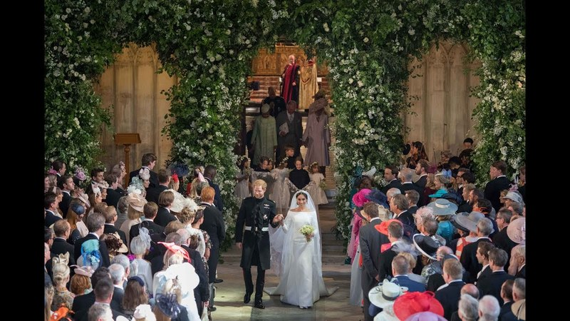 The Royal Wedding The Duke and Duchess of Sussex process through St Georges Chapel
