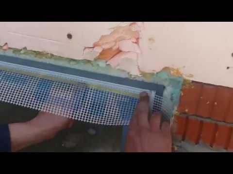 EIFS установка элемента примыкания с сеткой на верхний оконный откос