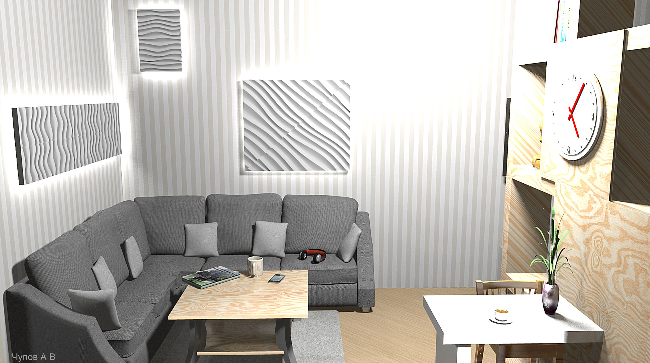 Квартира-студия : гостиная, кухня, спальня на 20 кв/м, автор проекта Чупов А.