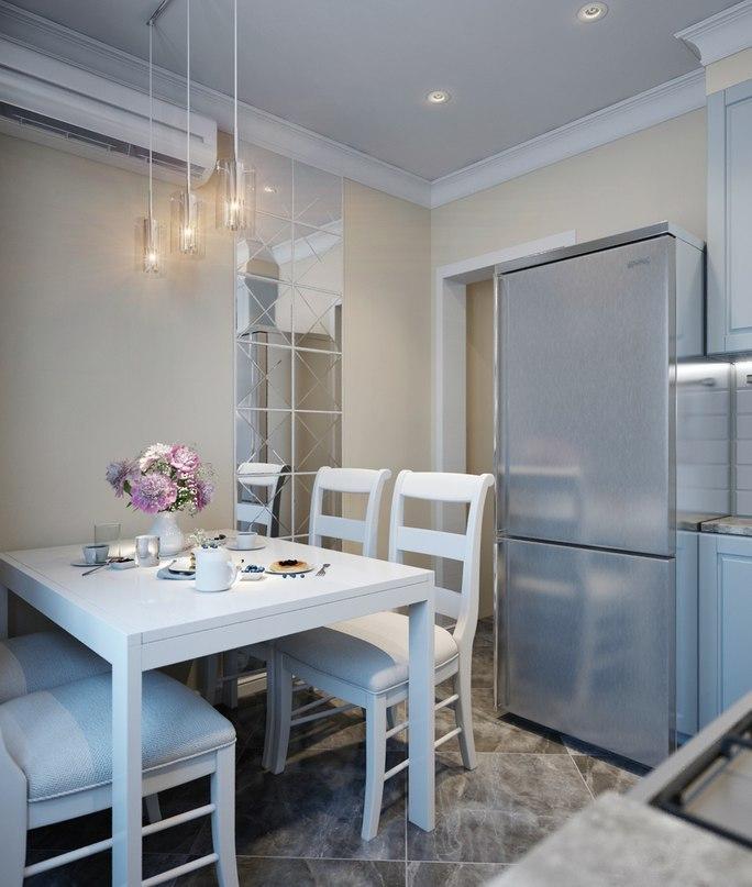 Голубая кухня 8 кв.