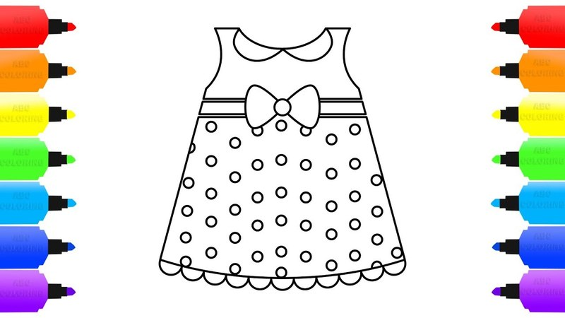 Polka Dot Dress Coloring for Kids | Learn the Colors | How to Draw Dress
