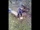 Добрыня дрова рубит