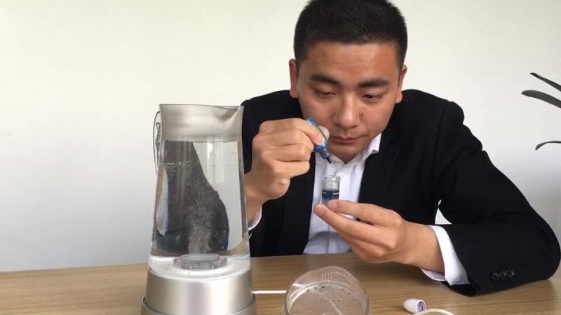 Hydrogen water pitcher test by Miz h2 blue reagent
