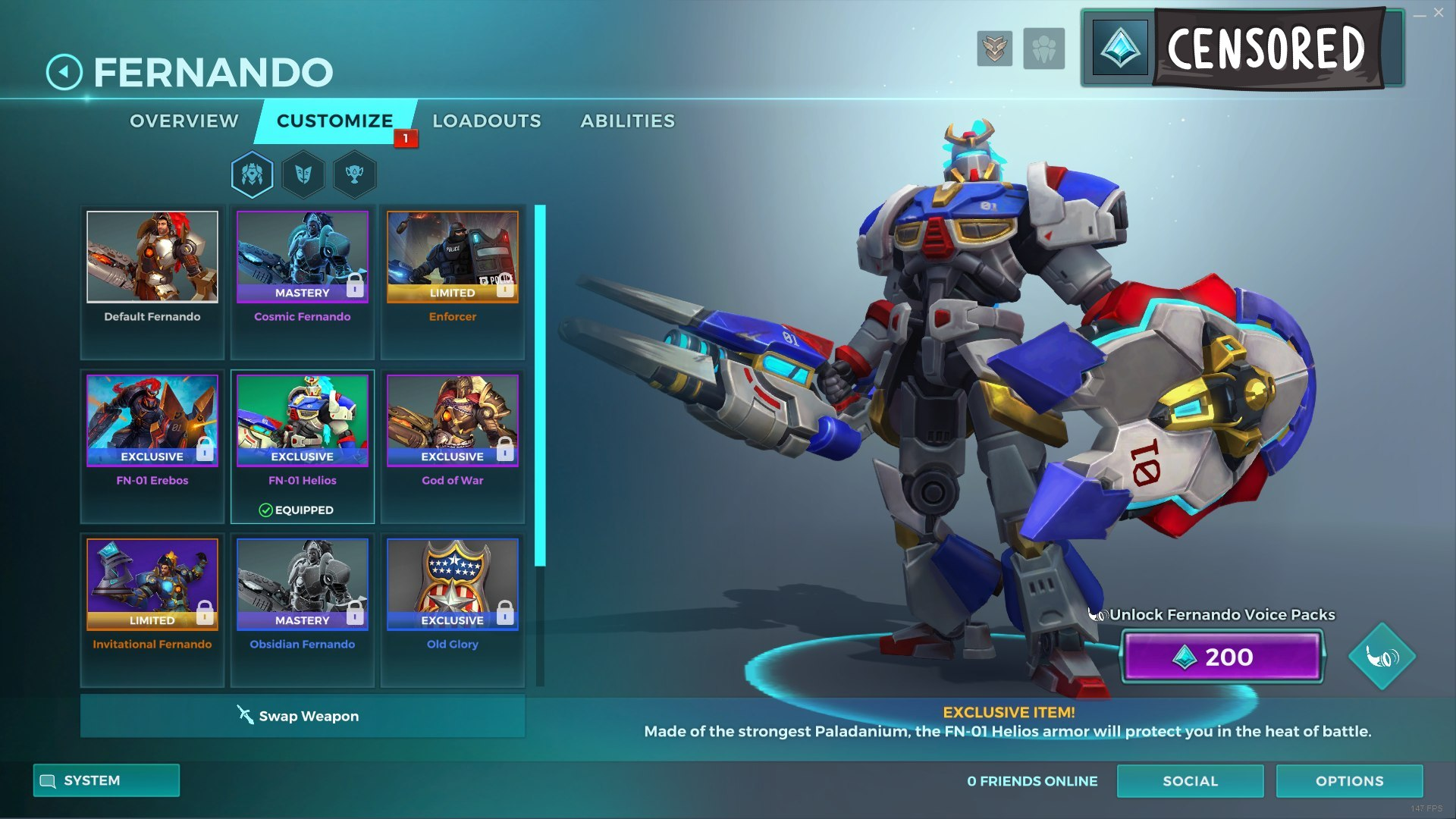 Details about Paladins Fernando FN-01 Helios Skin code  Region Free key for  PC/PS4/Xbox/NS