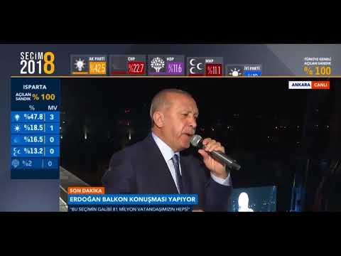 Erdoğanın Balkon Konuşması 24.Haziran.2018 Seçim Zaferi Sonrası Gece Saat 0300 Ankara AK Parti