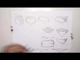 Рисуем рот, манга, видеотуториал