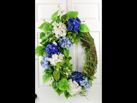 How to make double door hydrangea grapevine wreath