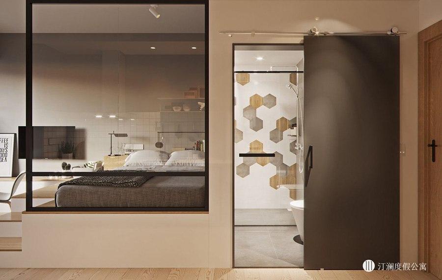 Проект квартиры неизвестного метража с дополнительным спальным местом в подиуме.