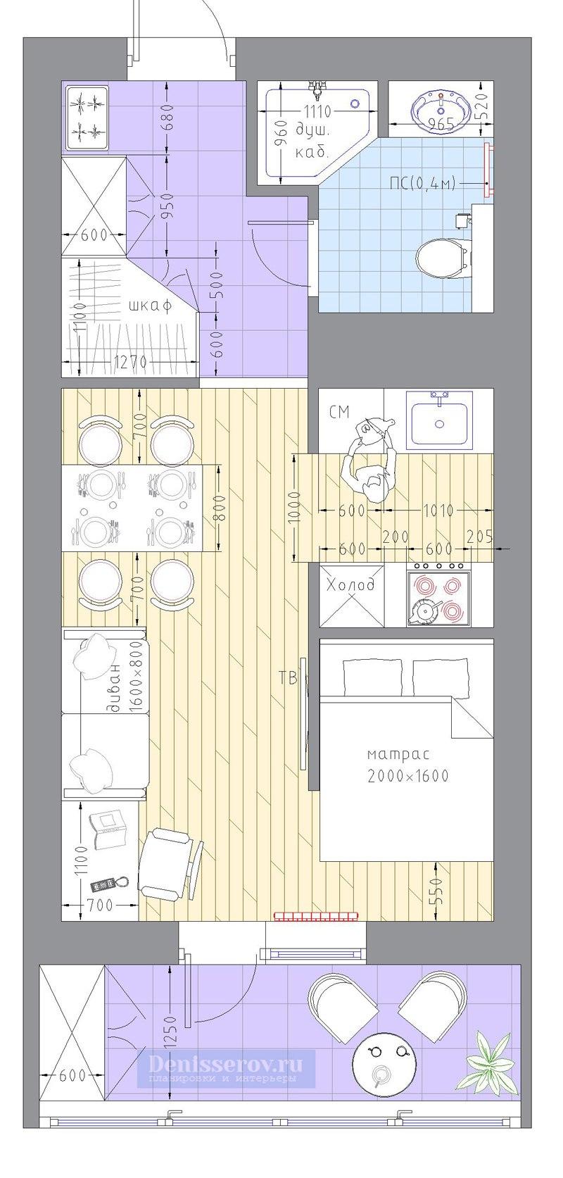 15 вариантов организации пространства типовой прямоугольной квартиры-студии 30 м.