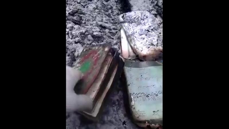 Түгі қалмай өртенген үйдің ішінен Құран кітабы табылды