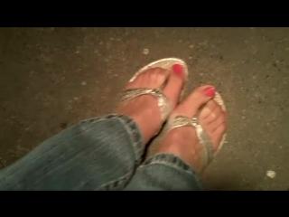 Silver Flip flops nylons