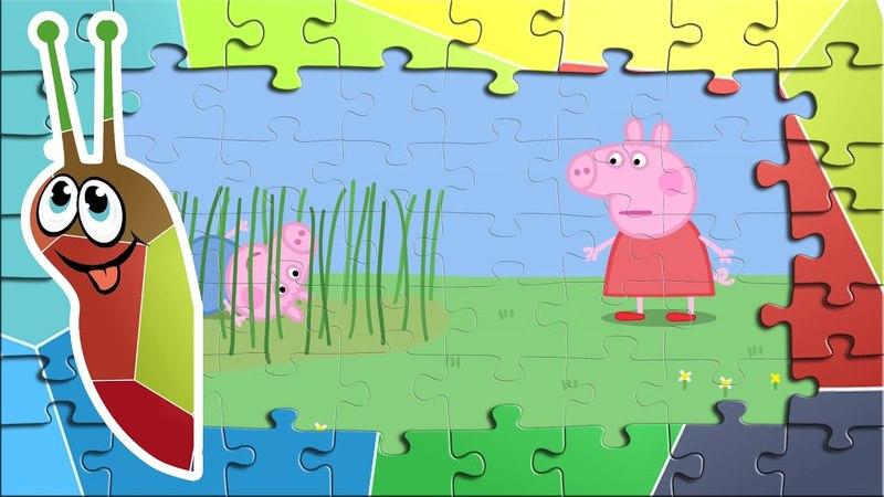 Пазлы свинка Пеппа Сборник 22 Красные ботинки Пеппы Джордж играет в мокрой траве
