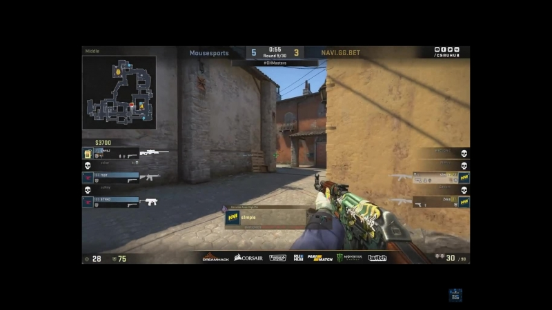 S1mple ace vs mousesports. clutch 1x3