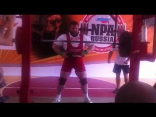 Александр Сыкменев до 125 кг приседает 362,5 кг в однослойной экипировке