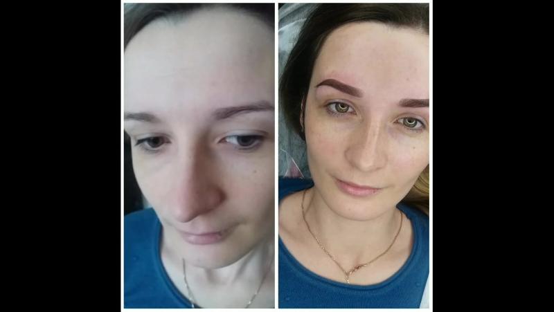Перманентный макияж бровей.  Мастер Оксана Герасименя.