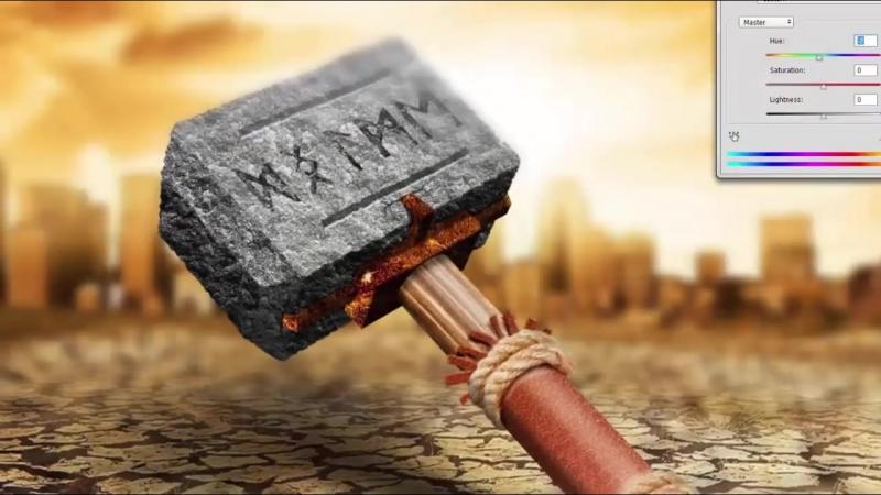 Техдизайн. Древний молот в фотошопе с нуля