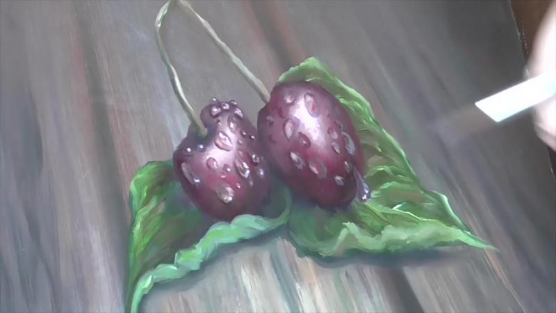 Рисуем маслом вишни в каплях воды!Drawing the cherry oil droplets in the water!Круглова Людмила