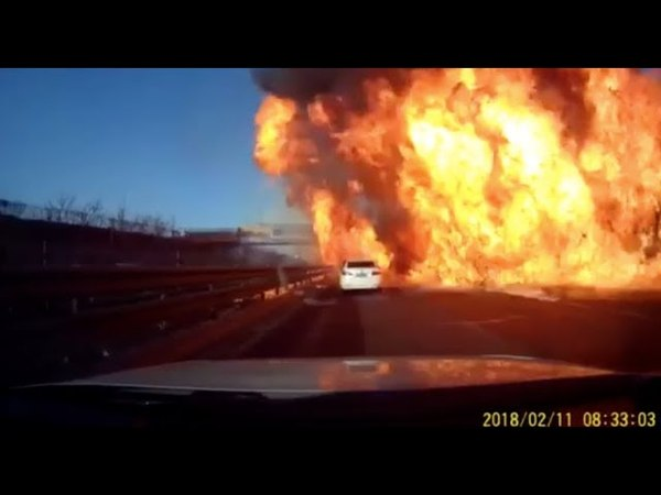 2 Injured as LNG Tanker Leaks Cause Fire on Expressway