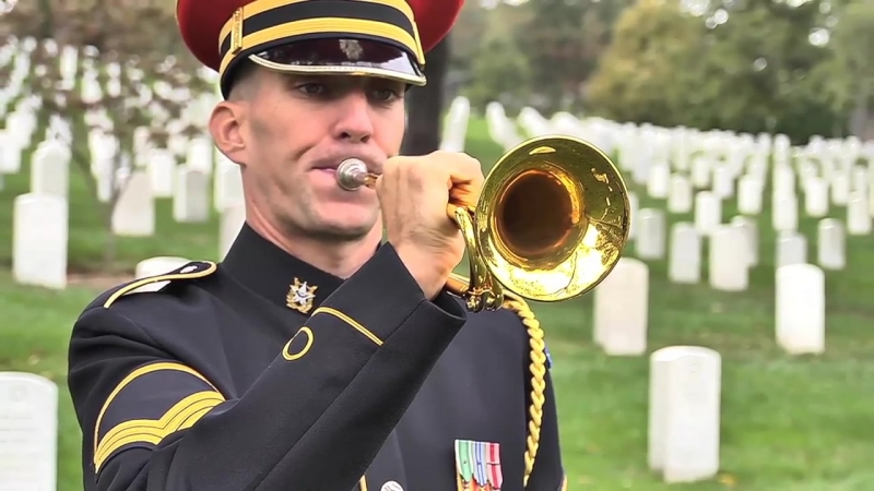 Taps performed in Arlington National Cemetery (summer and winter)