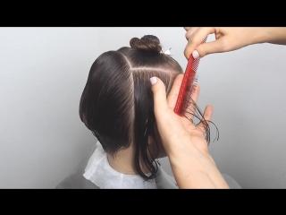Сложная женская стрижка, сочетающая техники градации, слои и элементы дисконекции. [Full HD 1080p]