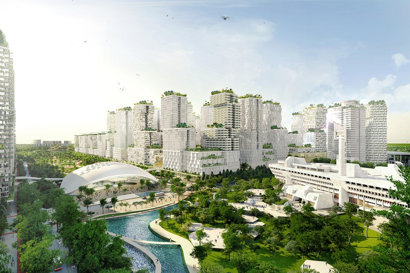 New central business district of Singapore, Jurong lake district, will be one giant garden