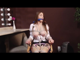BoundHub - Actress chair tied, cleave gagged, breasts exposed