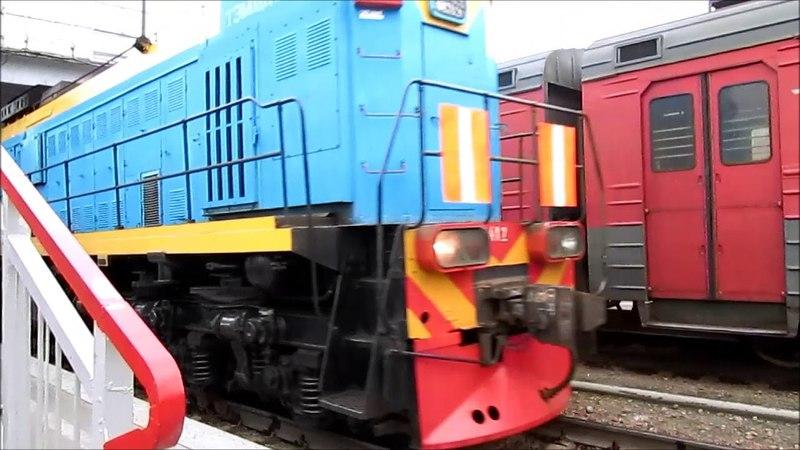 Манёвры ТЭМ18ДМ-412 с группой почтово-багажных вагонов