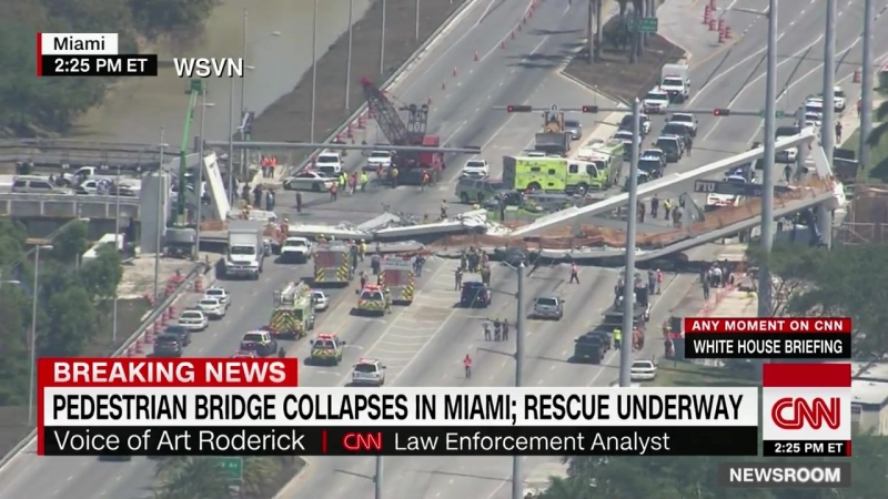 В США на людей рухнул сверхпрочный мост весом в тысячу тонн