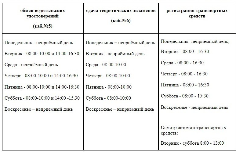 график работы ГИБДД, Чайковский, 2017 год