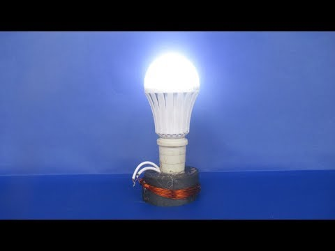 How to make free energy electricity generator with Magnet copper wire self running LED light 12V