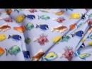 шифон софт принт рыбки фон голубой