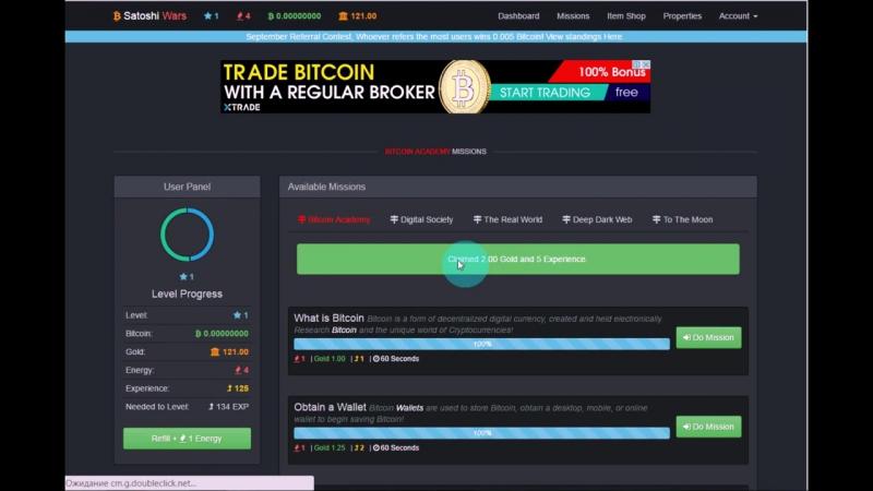 Собираешь золото обмениваешь на биткоины Просмотр рекламы за биткоины Bitcoin Game SatoshiWars