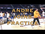 Andre Iguodala joins stretching &amp warmup at practice at The Q in Cleveland, day before NBA Finals G3