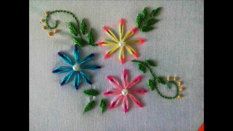 Double Color Thread Flowers with Daisy Stitch|Flores en Puntada Margarita Doble Color|Bordado a mano