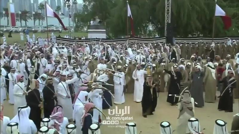 الممثل الشخصي للأمير يشارك في عرضة هل قطر بكورنيش الدوحة С днем Катара Happy Qatar National Day