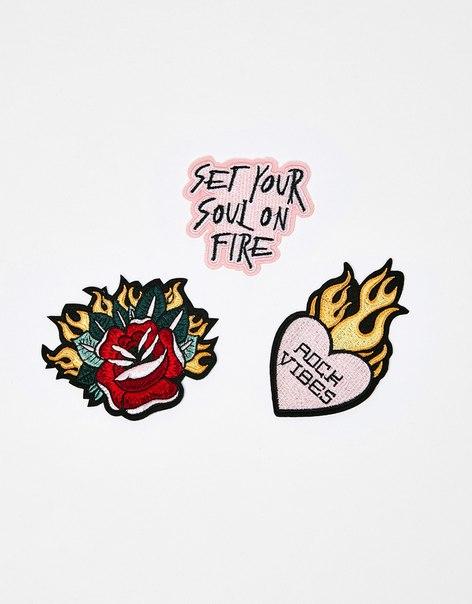 Набор из 3 нашивок «Сердце и пламя»