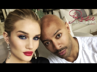 Rosie Huntington-Whiteley and Sir John blue eye makeup tutorial (RUS SUB)